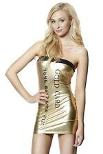 Strapless Shiny Metallic Silver Credit Card Pattern PVC Club Dress Mini Clubwear