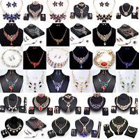 Fashion Women Crystal Chunky Pendant Statement Bib Necklace Earrings Jewelry Set
