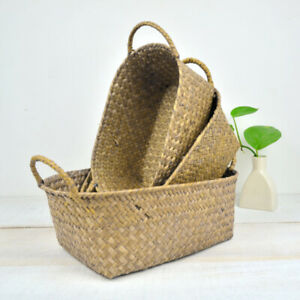 Seagrass Storage Basket With Handles Home Decoration Foldable Box Container