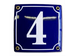 Porcelain address plaque 4.7″ customisable handcrafted enamel house number sign