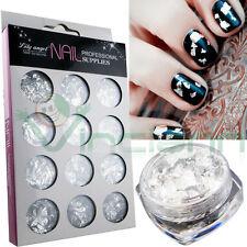 Set 12 pezzi Foglia argento fogli alluminio decorazione unghie unghia nail art