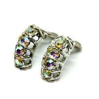 Vintage Mid Century Clip On Earrings. Aurora Borealis Rhinestones. Bling.