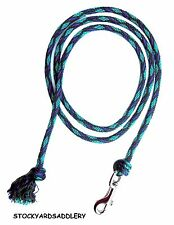 """ROYAL BLUE TEAL AND GRAY MINI HORSE PONY 1/2"""" X 6' 6"""" LEAD NEW TACK"""
