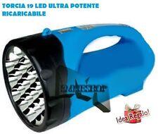TORCIA A 19 LED LAMPADA RICARICABILE POTENTISSIMA LUCE ILLUMINA 500 METRI mshop