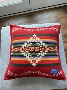 Pendleton Red Wool Native Print Western Throw Pillow Beaver State