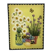 Vintage Crewel Yarn Art Picture 3D Retro Embroidered 70's Needlepoint Flowers