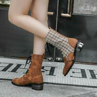 Womens Trendy Lace Up Low Heels Pointed Toe Casual Ankle Boots Winter Shoes New