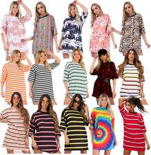 Ladies Stripe Printed Baggy Oversized Boyfriend T-Shirt Dress Tunic Longline Top