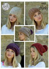 King Cole Ladies Chunky Knitting Pattern Slouchy Rib or Cable Hat & Beret 4864