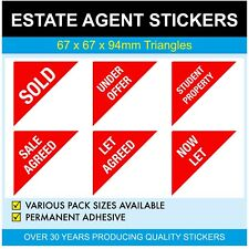 NOW LET - Estate Agents Stickers - Triangles - SALE AGREED - now let - SOLD