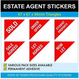 UNDER OFFER - Estate Agents Stickers / Labels - Triangles - NOW LET - SOLD