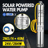 DC 24V 284W Solar Water Powered Pump Submersible Bore Hole Pond Deep Well 2m³/H