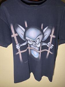 Vtg 1995 Pinky and The Brain Tee Shirt Large USA Animaniacs 21.5x28
