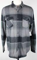 NWT Volcom Ferdinand Sherpa Lined Flannel Shirt MENS XL Black Plaid