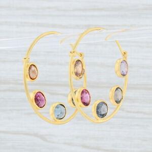 Marie Helene de Taillac Gemstone Hoop Earrings 22k Gold Round Hoops Pierced