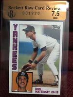 1984 TOPPS DON MATTINGLY Rookie  BEckett Raw Card Review 7.5 NEW YORK YANKEES