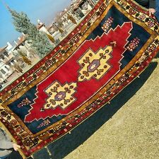 "Unique 4'4×6'11""Antique 1900-1930s Armenian Natural Dyes Wool Pile Area Rug"