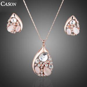 Women Fashion Austrian Crystal Heart Opal Stud Earrings & Necklace Jewelry Set