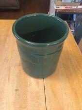 "Longaberger Pottery Utensil Holder Crock Dark Green Woven Traditions Usa 7"""