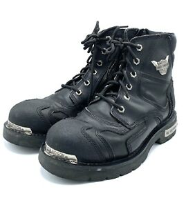 Harley Davidson steel toe boots leather mens Size 11 wide black