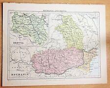 Antiguo mapa de Rumania y BCD, alrededor de 1886