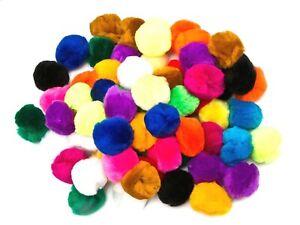 Edukit Large Pompoms Bumper Pack – 70 Fluffy Balls – 5cm wide – Mixed Colours