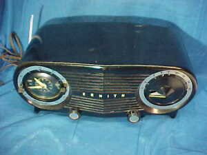 Early 1950s ZENITH DASHBOARD Style CLOCK RADIO w BLACK CASE Clean Non Playing