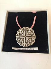 Large Celtic Knot PP-G38 Motif Pewter  PENDENT ON A PINK CORD Necklace