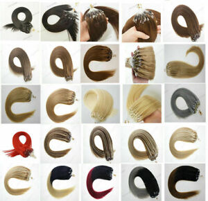 """7A 14""""-24"""" Double Drawn Micro Beads Ring Loop Human Remy Hair Extensions 1g UK"""