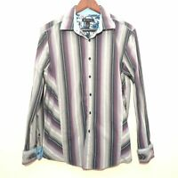 mens button up shirt size M purple gray striped INC INTERNATIONAL CONCEPTS ls