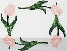 Peach Tulip blooms embroidered Quilt Label Custom made for quilt tops or blocks