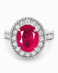 3.30Ct Oval Cut AA Natural Burmese Red Ruby Women's Ring In 925 Sterling Silver