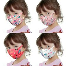 Set of 4 Girls Boy 3D Face Cover Reusable Washable Protection Light Breathable