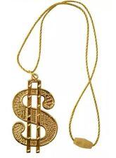 DOLLAR MEDALLION NECKLACE IN GOLD 70s 80s GANGSTER MENS FANCY DRESS hip hop
