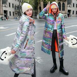 Women 2021 Shiny rainbow newspaper down Cotton jacket long hooded over-knee Coat