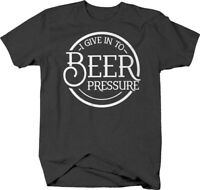 I give in to beer pressure circle caps funny alcohol drinking T Shirt for Men