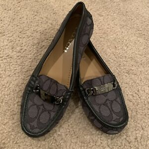 NWOT COACH Black Signature Moccasin Loafers Size 6.5
