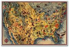 HUGE Birds Eye View Art MAP of the USA & Mexico by Miguel Covarrubias circa 1942