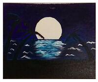 "Original 10"" x 8"" Moonrise at the Beach Acrylic Painting"