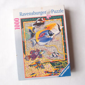RAVENSBURGER 1000 Jigsaw Puzzle Vintage Coral Fishes Reef 155262 1 Piece Missing