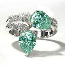 3.18ct VVS1>WHITE SKY BLUE MOISANITE DIAMOND PEAR CUT 925 Sterling SILVER RING