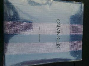 Calvin Klein George Fabric Shower Curtain Cobalt Pink Stripes 100% Cotton Waffle