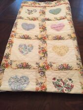 Full/Queen Quilt, Jcpenney, Lovely Squares With Hearts & Flowers, Free Shipping