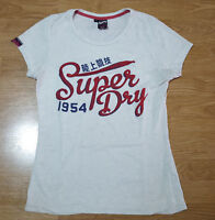 Superdry T Shirt Tee Top Short Sleeves Cotton Womens White Size M