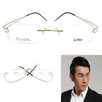 Mens Luxury Titanium Eyeglass Frames Spectacles Rimless Glasses Flexible Rx