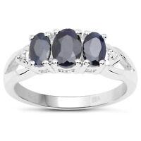 Sterling Silver Sapphire & Diamond Engagement Ring Size HIJKLMNOPQRTUVW