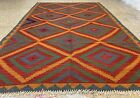 Authentic Hand knotted Woven Afghan Soutee Maimana Wool Kilim Area Rug 8 x 5 Ft