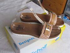 NEW Scholl Bioprint Ladies Tan Brown Wedge Mules Sandals Size 5 EU 38