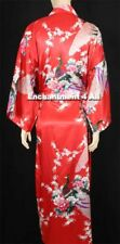 Elegant Dragon Design Silk Satin Kimono Robe Sleepwear Long W Waist Tie Red