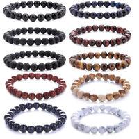 Men Women 8mm Lava Rock Chakra Beads Elastic Natural Stone Agate Bracelet